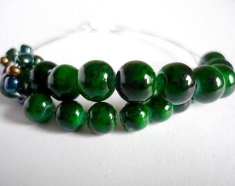 Row counter bracelet for knitting and crochet, knitting bracelet, knitter's bracelet, abacus bracelet in green - UK seller