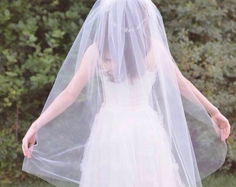 Wedding Veil in Ivory, White, Pink or Color of Your Choice, Ready to Ship by Ruby & Cordelia's