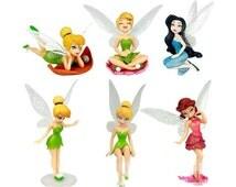 Tinkerbell Fairies CAKE TOPPER Fairy Rosetta Silvermist 6 Figure Set Birthday Party Cupcakes Figurines Disney * FAST Shipping *