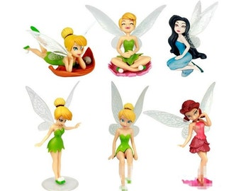 Tinkerbell Fairies CAKE TOPPER Fairy Rosetta Silvermist 6 Figure Set Birthday Party Cupcakes Figurines Disney * FAST Shipping *