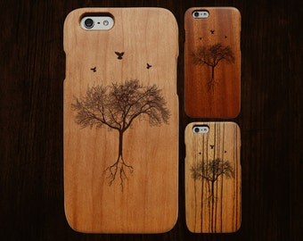 Wood iPhone 6 case. Works with 6/6S/6Plus/6SPlus. Tree engraving. Single-piece body.