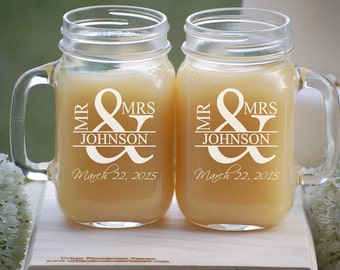 Etched Mason Jar Wedding Glassware with Handle, Mr. and Mrs. Custom Fonts Left or Right Handle