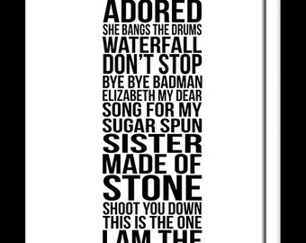 A3 The Stone Roses album song list print Stone Roses typography   ( Print Only )