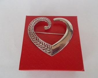 Vintage Silvertone JJ Heart Brooch