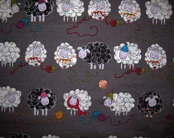 "Knitting Sheep Print Fabric - Cotton -  ( Grey )  - FQ - 18"" x 20"""