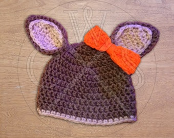 Crochet Boys or Girls Deer Hat with and Colorful Customizable Bow!