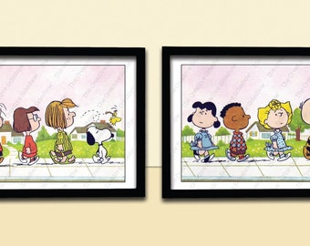 Peanuts Gang, Snoopy, Charlie Brown, Themed Wall Art - Set of 2 Poster Prints in any size - Baby Kid Nursery Room Decoration Party
