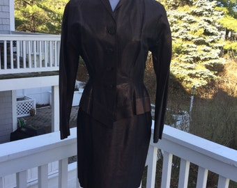 Vintage 1950s Peplum Copper Metallic Thread Suit//Jacket & Skirt//Sz 8-10