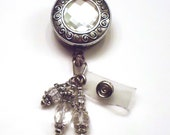 Sparkly Diamond Cut Silver Medallion Retractable Reel ID Badge Holder Lanyard