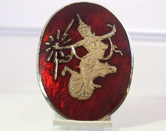 Vintage Sterling Silver Siam Dancer Brooch With Red Enamel And Hand Engraving Oval Shape Asian Thailand GregDeMarkJewelry