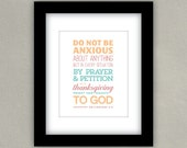Verse Wall Art, Philippians 4:6 Do Not Be Anxious About Anything, Modern Wall Decor, Typography Poster