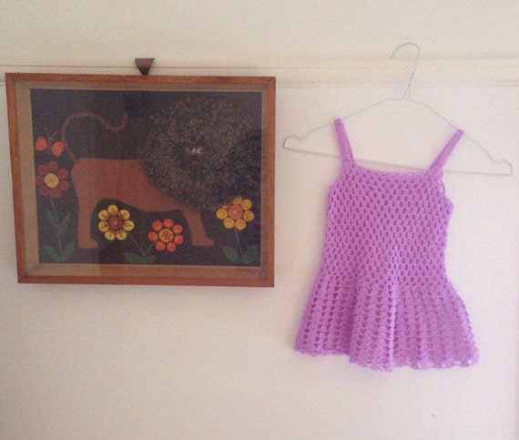 1970s crochet mini dress pinafore orchid purple handmade 60s girls sundress T3 approx