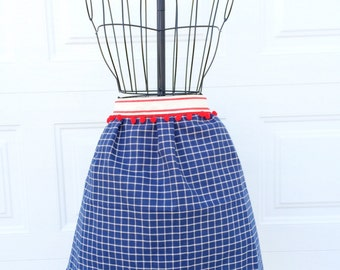 Tea Towel Apron - Upcycled Dish Towel Apron with Pom Pom Detail