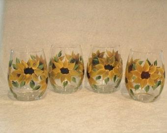 STEMLESS SUNFLOWER GLASSES, set of four