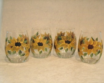 STEMLESS SUNFLOWER wine glasses, set of four