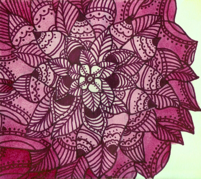 Zentangle Art Watercolor Flowers Zentangle Drawing by SamIamArt