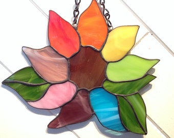 Stained Glass Sunflower Rainbow Sun Catcher Wild Flower Handmade