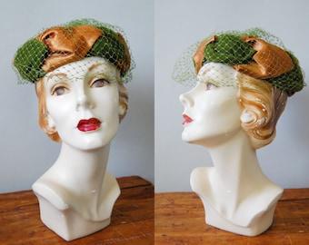 Vintage 1950s Velvet & Satin Hat / 50s Pill Box Veiled Hat / Olive Martini Hat