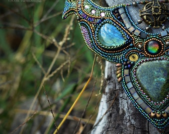 Embroidered Necklace - beadwork jewelry - beaded embroidery jewelry