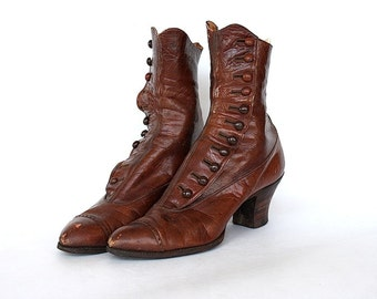 Victorian Boots - Antique Button Up Boots - Brown Leather Boots - Saks & Co Label - 1800s Shoes - Steampunk Victorian Costume