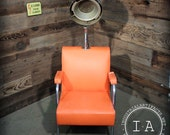 Vintage Industrial Salon Hair Dryer Drier Chair Orange Chrome 1950s 1960s Kitsch R6