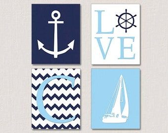 Nautical Nursery Art,  Baby Boy Nautical Nursery Decor, Blue White Nursery, Sailboat Nursery Decor, Sailing Nursery, Anchor, Sailboat