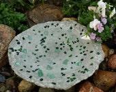 Bird Bath, Custom Handcrafted, Shades of Green Tumbled Glass