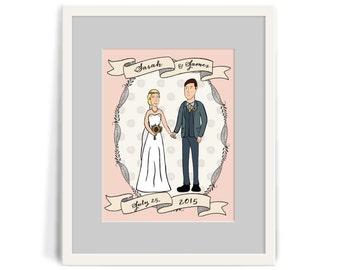 Custom Illustration Wedding Portrait // Custom Illustrated Wedding Portrait of Couple / Wedding Gift , Anniversary Gift , Housewarming Gift