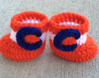 Crochet Orange and Blue Colorado Flag Baby Booties, Colorado Baby Booties, 0-3 months, 3-6 months, baby booties