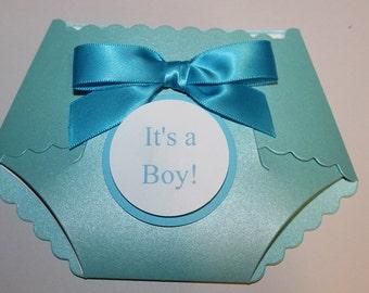 25 Printed Metallic DIY baby shower diaper  invitations W/ simulated rhinestones   and white envelopes