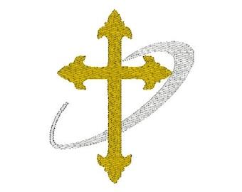 Religious Cross Machine Embroidery Design, 2 sizes, cross embroidery design / religious embroidery design / cross machine embroidery design