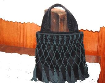 Vintage Fringed Black Velvet Purse