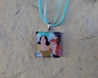 Disney Villians Collection Evil Stepsisters Anastasia and Drizella from Cinderella Glass Pendant and Ribbon Necklace