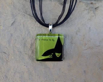 Broadway Musical Wicked Glass Pendant and Ribbon Necklace