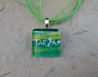 Broadway Musical Tarzan Glass Pendant and Ribbon Necklace
