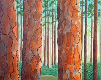 Original Landscape Painting Acrylic Pine Tree Painting Brown Rust Green Blue Large