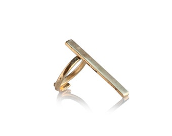 Long Minimalist gold rocker adjustable geometric ring - made to order