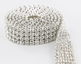 4 Row Crystal Cake Ribbons with REAL Rhinestons Diamond Cake Banding 1 yard ( Lowest Price )