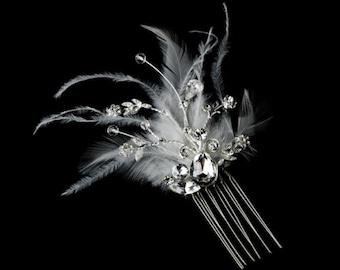 Gorgeous Rhinestone Dazzle Feather Bridal Hair Comb White or Ivory