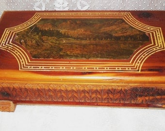 A Nice Cedar Crafted & Painted Treasure Chest Mountain Scene
