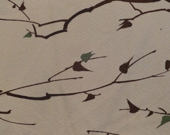 SF1291 Vintage Japanese Hand Dyed Tree Branches on Cream Silk Fabric