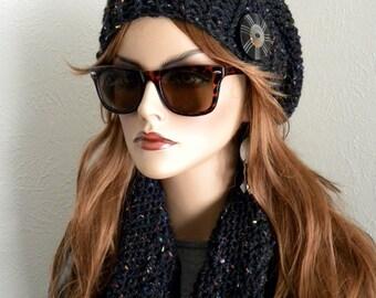 Black Winter Hat & Scarf Set, Slouchy Beanie Hat, Black Tweed, Black Infinity Scarf, Crocheted Accessories, Winter Accessories