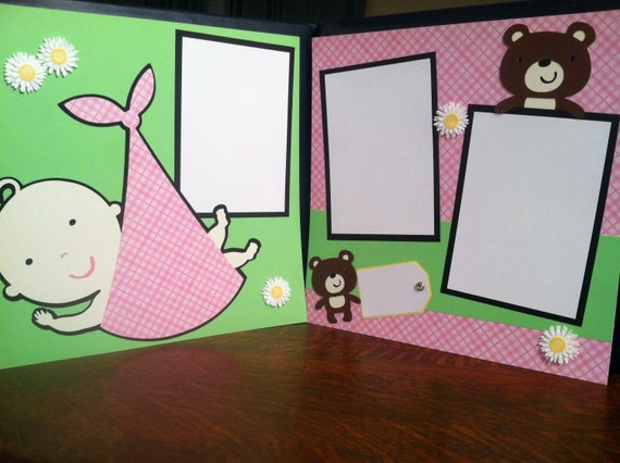 Baby Girl Pre Made 12 x 12 Pre Made Double Page Layout