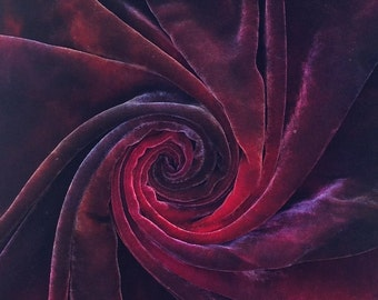Hand Dyed Silk Velvet, Hand Dyed Devore Silk, No.17 Ruby