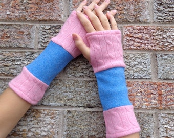 Wool Arm warmers, Upcycled fingerless gloves, made from 2 felted wool sweaters - pink cable knit and powder blue