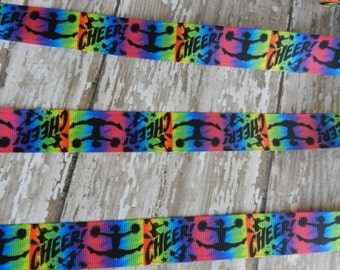 3 Yards of 7/8  Inch Bright Colored Cheer Grosgrain Ribbon