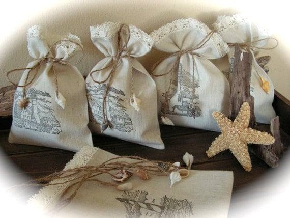 Wedding Gift Bags Beach Theme : Beach Wedding Favor Bags Gift Eco linen Bags Nautical Rustic Wedding ...