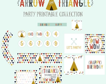 Arrow and Triangle Party Printable Collection (modern, tribal, arrow party)