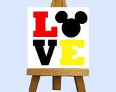 Mr. Mouse Love Mini Canvas with Easel - Custom