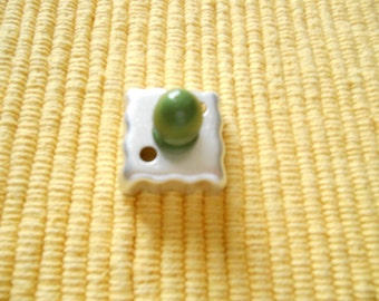 A Tinplate Square Cookie Cutter, Makes a 1 1/8 inch Square Cookie, Green Wooden Knob Handle